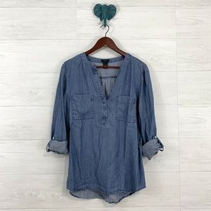 Ann Taylor Blue Chambray Denim Roll Tab Blouse
